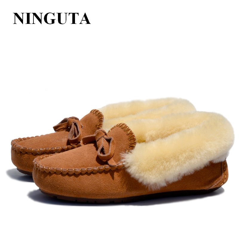 цена NINGUTA quality fur suede loafers shoes woman winter casual women shoes онлайн в 2017 году