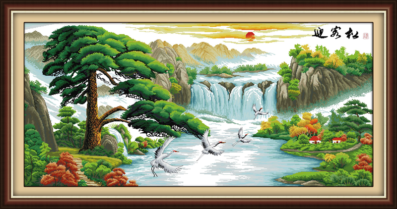 Guest-greeting pine cross stitch kit mountain river 14ct 11ct count printed canvas stitching embroidery DIY handmade needlework