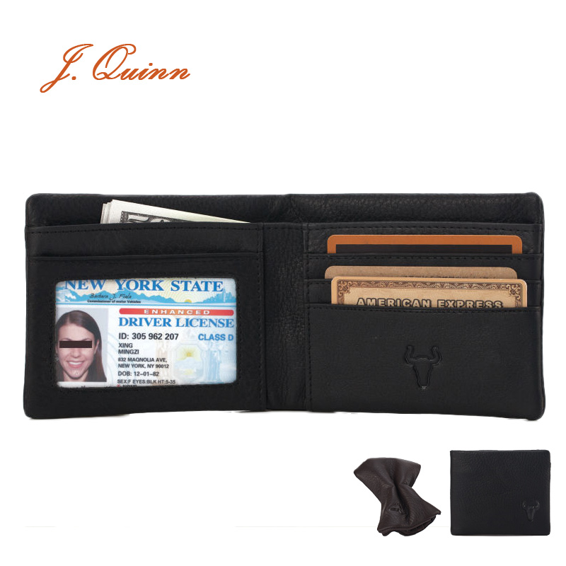 J.Quinn Super Soft Genuine Leather Men Wallet Card Zipper Casual Black Brown Short Wallets Cow Small Purses 2016 Holder