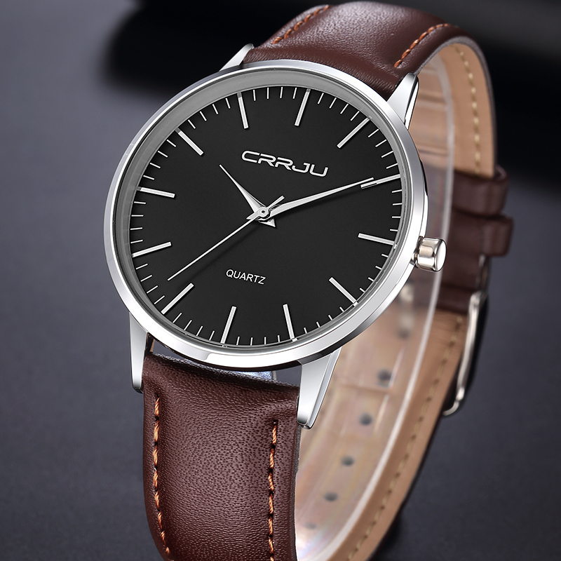 CRRJU Luxury Brand Men Watches Ultra Thin Genuine Leather Clock Male Quartz Sport Watch Men Waterproof
