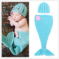The Little Mermaid Design Blue Crochet Hat and Cocoon Set Infant Newborn Baby Girl Photo Photography Props Handmade Knit Costume
