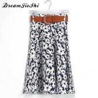 Dreamjieshi White Flowers Print Skirts Women Knee Length Umbrella Skirt Girl Fresh Style Cute Skirt 2017