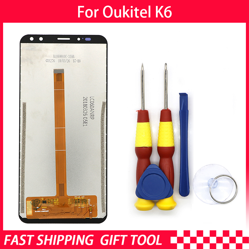 New original Touch Screen LCD Display LCD Screen For Oukitel K6 Replacement Parts + Disassemble Tool+3M AdhesiveNew original Touch Screen LCD Display LCD Screen For Oukitel K6 Replacement Parts + Disassemble Tool+3M Adhesive