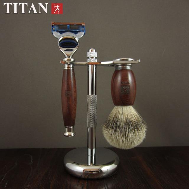 Titan men shaving baber 5 hoja de afeitar set in mango de madera regalo paquete de afeitar