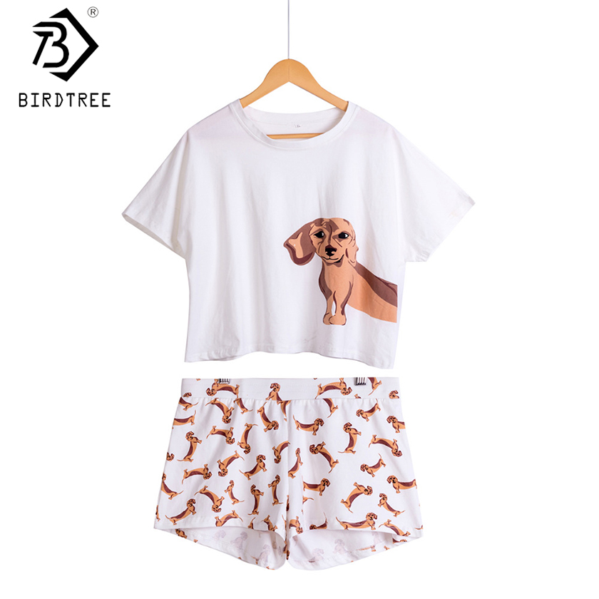 Damen Dackel Dog Print Sets 2 Stück Pyjama Anzüge Crop Top + Shorts Stretchy Lose Tops Plus Size Elastic Waist S69305