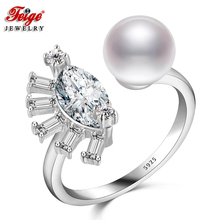 Fashion Eyes Cubic Zirconia 925 Silver Pearl Ring for Lady Anniversary Jewelry 8-9MM White Freshwater Dropshipping