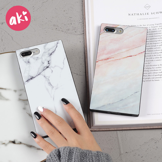 on sale 00cbf d583b AKI Marble Phone Case for iPhone X Case Luxury Rectangle Square ...