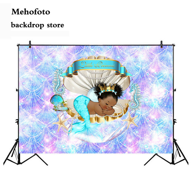 Mehofoto Newborn Little Princess Backdrops for Photography Glitter Baby Shower Backgrounds for Photo Shoot Studio Mermaid Shell
