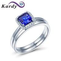 Блестящий великолепный натуральный Танзанит Драгоценный Алмаз 14 К белого золота Обручение свадьбы, соответствующие кольца пара комплекто