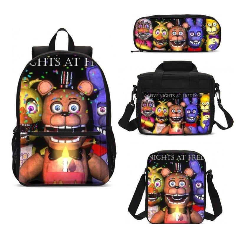 4 pièces/ensemble sacs d'école de portefeuille pour les garçons filles cinq nuits à Freddy 3D impression sac à dos Rugzak Plecak Bookbag Mochila Escolar