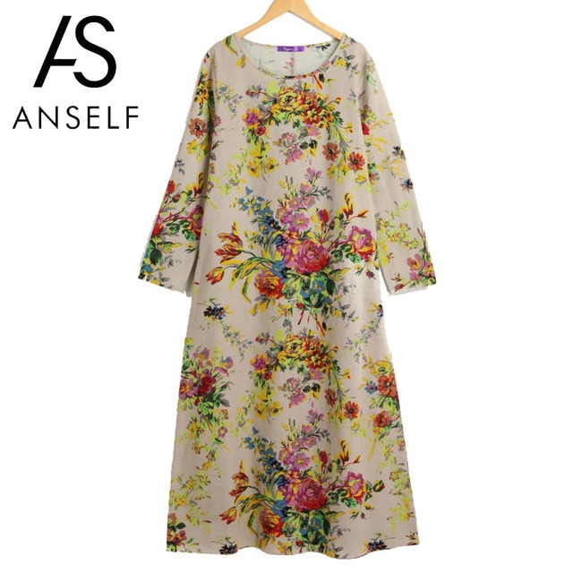 Anself בציר Boho שמלת נשים מקסי רטרו פרחוני שמלת 2019 ארוך שרוול כיסי O צוואר בתוספת גודל כותנה פשתן שמלה loose גלימה