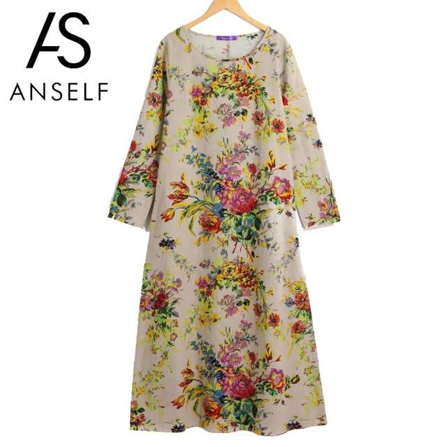 Anself Vintage Boho Dress Women Maxi Retro Floral Dress 2019 Long Sleeve  Pockets O Neck Plus 0598a99c1ebd