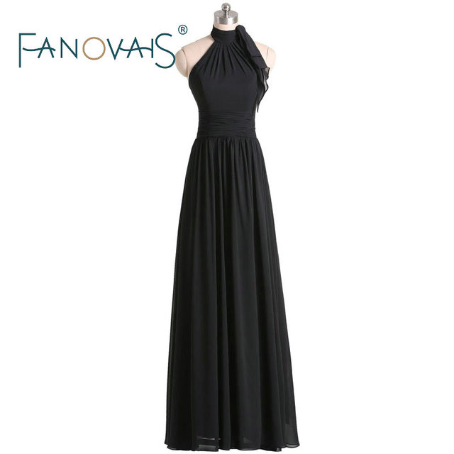 Us 132 05 Chiffon Bridesmaid Dresses Long 2019 Black Bridesmaid Dresses Halter Dresses For Wedding Party Maxi Gowns Maid Of Honor Dresses In