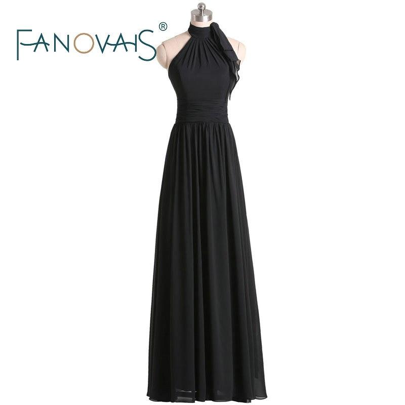 Chiffon   Bridesmaid     Dresses   long 2019 Black   Bridesmaid     dresses   halter   dresses   for wedding party maxi gowns Maid Of Honor   Dresses