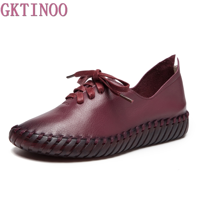 GKTINOO Spring Summer New Handmade Shoe 2018 Loafers Casual Soft Driving Shoes Women Flats Genuine Leather Flat Women Shoes 2016 spring and summer free shipping red new fashion design shoes african women print rt 3