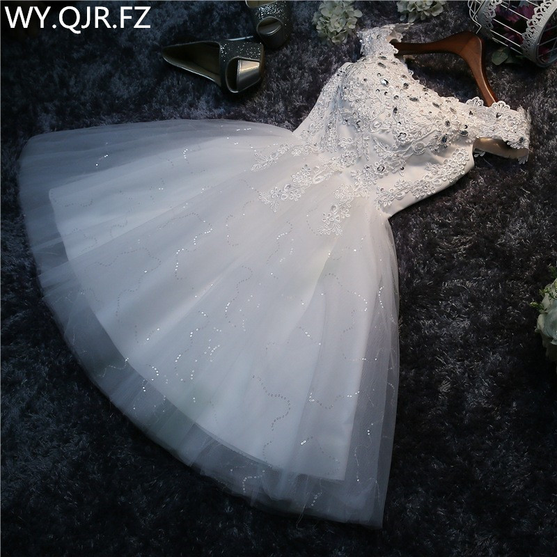 Real Photos Bridesmaid Dress Short The New Spring Summer Bride Marriage Gauze Dress White Lace Up Sexy Costumes Prom White #HA5