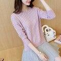 2016 nuevo otoño Coreano del todo-fósforo-cabeza de la manga floja femenina suéter blusa short hollow