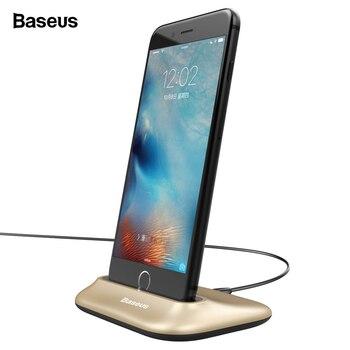e1ff16bffb0 De Baseus muelle estación de acoplamiento cargador para iPhone 7 6X8 s 6  Plus SE 5S 5 sincronización los datos de carga de Cable USB para iPhone
