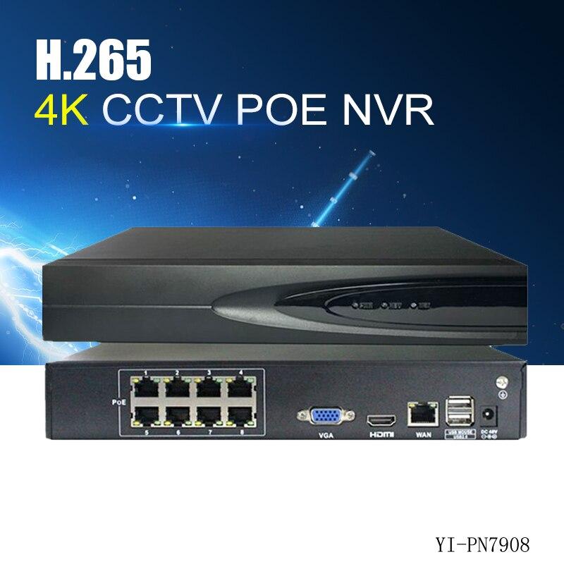 YiiSPO 8CH H.265 POE NVR jouer et brancher 48 v 802.3af 4 k 5.0MP 1080 p CCTV NVR de Sécurité vidéo vue à distance surveillance D'onvif P2P