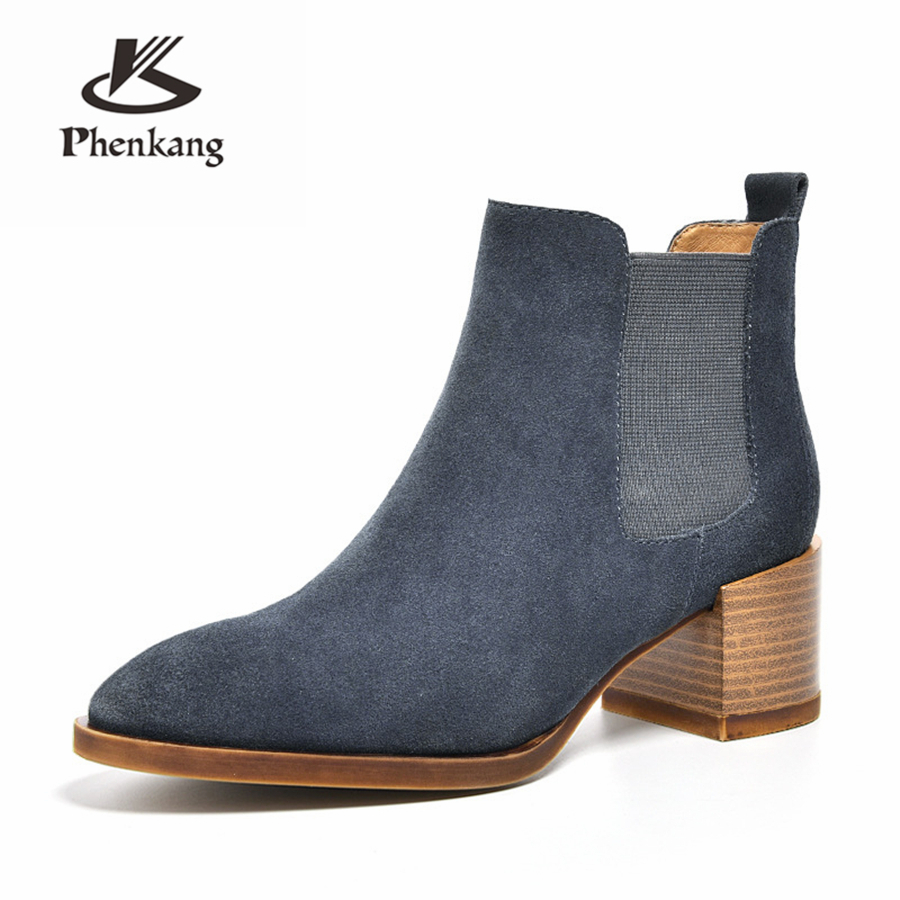 100% Genuine cow Leather winter boots Ankle chelsea Boots lady shoes elastic band Handmade black pink oxford shoes for women elastic band women genuine leather ankle boots chelsea hand made shoes motorcycle coincise fashion black matte women s boots