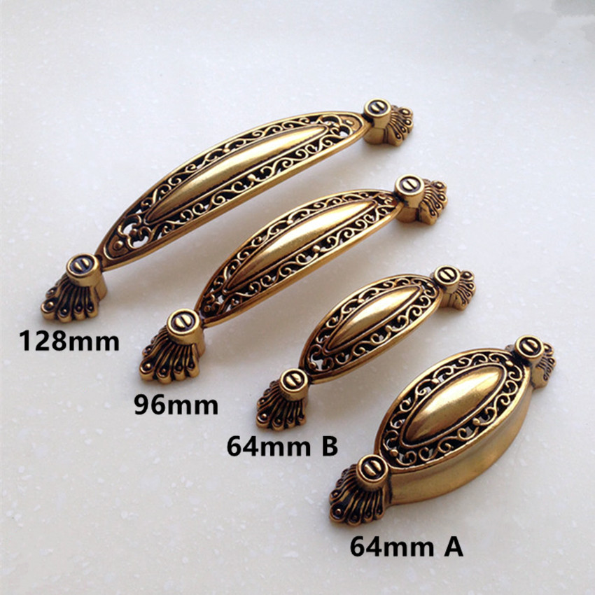 цены 128mm europe brass dresser kitchen cabinet door handles 64mm antique gold drawer pulls knobs 96mm vintage style furniture handle