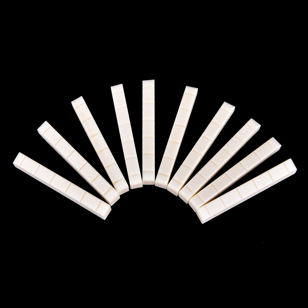 10Pcs Guitar Bass Real Blank White Bone Nut For LP Folk Classical Electric Acoustic Guitar Bone Nut Saddle