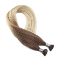 Moresoo I Tip Hair Extensions Human Hair Real Brazilian Hair Keratin Pre Bonded Cold Fusion Hair Pure Color 1G/1S 50S 50G