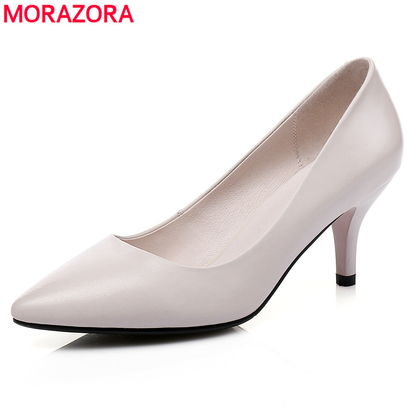 MORAZORA 2019 hot sale spring summer genuine leather women pumps solid colors thin high heels shoes fashion wedding shoes woman MORAZORA 2019 hot sale spring summer genuine leather women pumps solid colors thin high heels shoes fashion wedding shoes woman