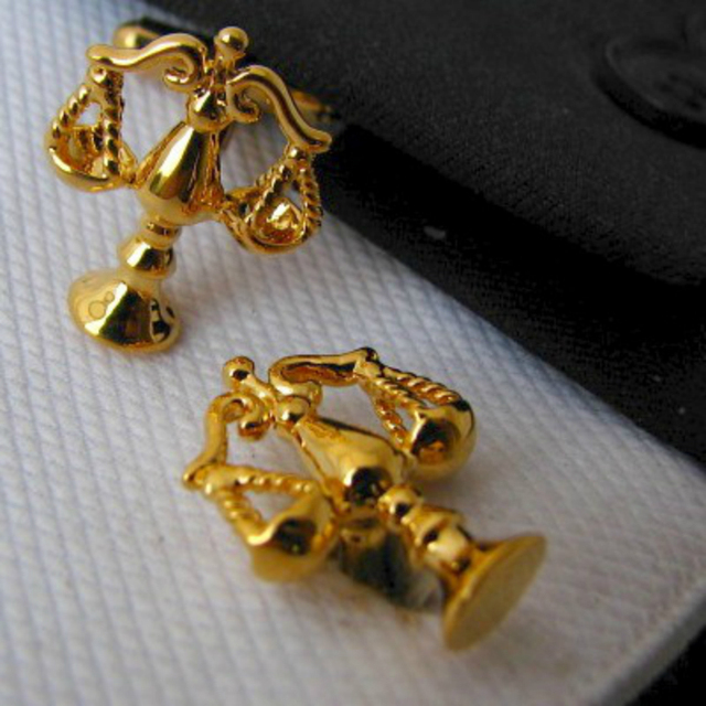 Kemstone Libra Scales of Justice Gold-color Cufflinks Button  1