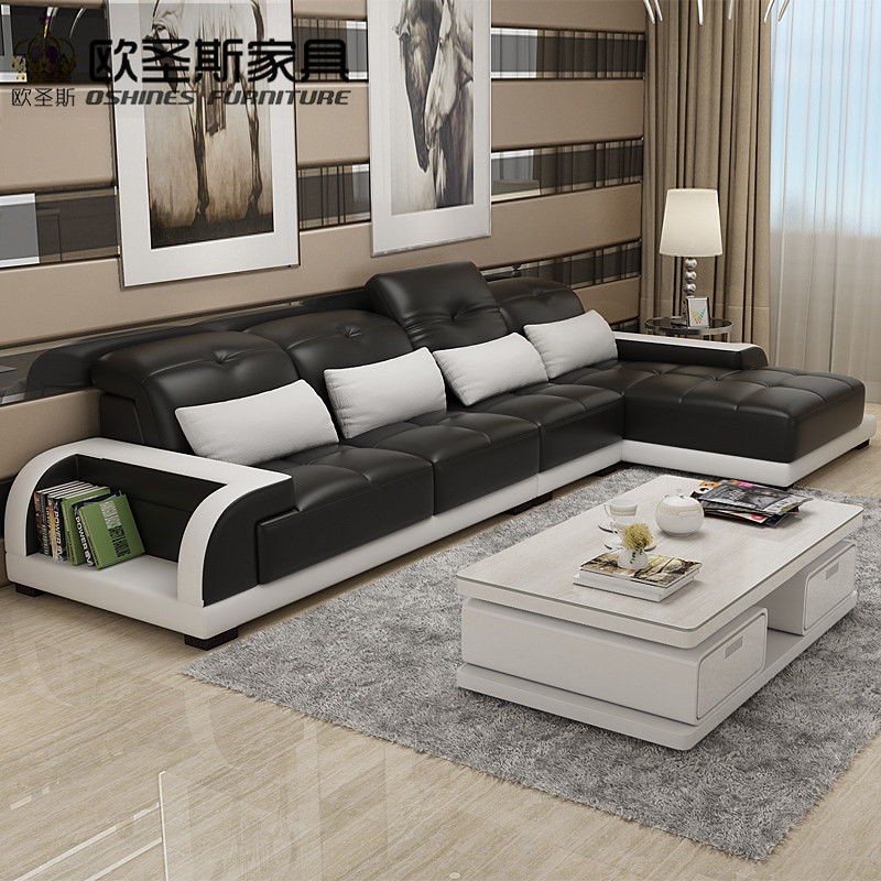 Cheers Barcelona Black And Big White Stitching L Shaped Modern Design  Sectional Soft Cow Leather Sofa Set Living Room Furniture In Living Room  Sofas From ... Part 68