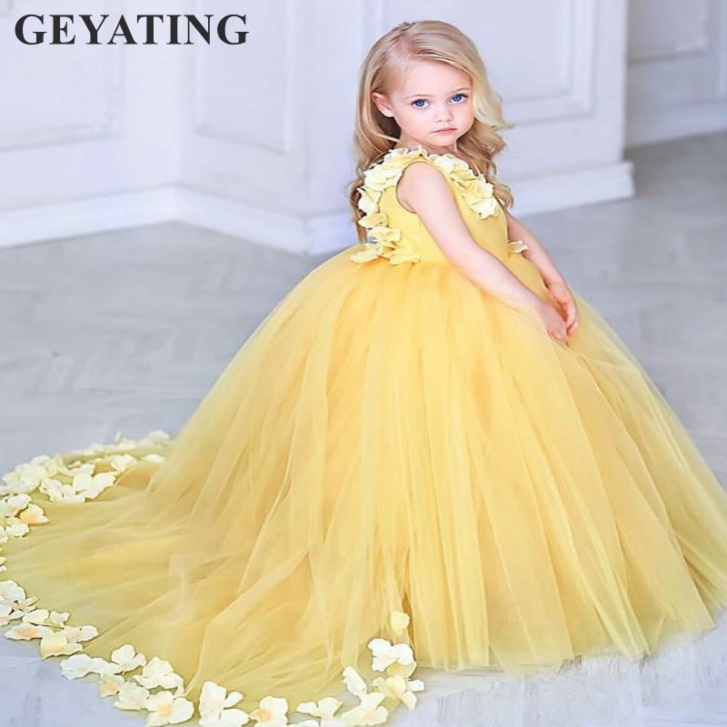 Flower Girl Dresses For Garden Weddings: Yellow Flowers Kids Pageant Evening Dress 2019 Lace Ball