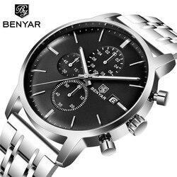 BENYAR męskie zegarki luksusowy zegarek biznesowy mężczyźni Top marka 2019 nowy kwarc chronograf ze stali nierdzewnej zegarek Relogio Masculin