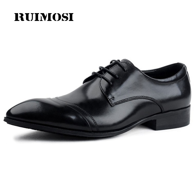 RUIMOSI Pointed Toe Cap Top Man Formal Wedding Dress Shoes Genuine Leather Male Famous Oxfords Derby Men's Bridal Flats EI28