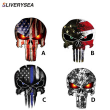 SLIVERYSEA 11CMX15CM Thin Blue Line Punisher Skull Reflective Personalized Car Stickers Motorcycle Decals #B1020
