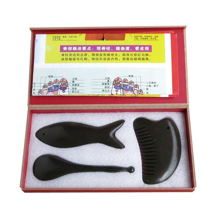 Acupuncture Massage traditionnel Outil 5A Bian pierre beauté visage kit 2 pcs visage guasha plaque + 1 pcs gua sha peigne (3 pièces/ensemble)