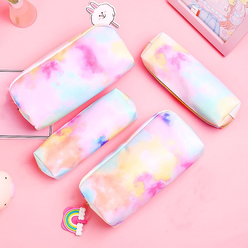 1pc Colorful Pencil Case Quality PU School Supplies Stationery Gift Pink Pencil bag School Cute Pencil Box School Tools