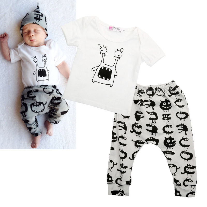 Hot 2015 New Baby Boys Girls Little Monster Cute Clothes T-shirt Pants Outfits Set 0~2T Kid Autumn wear Casual Cotton boy set 2017 new cartoon pants brand baby cotton embroider pants baby trousers kid wear baby fashion models spring and autumn 0 4 years