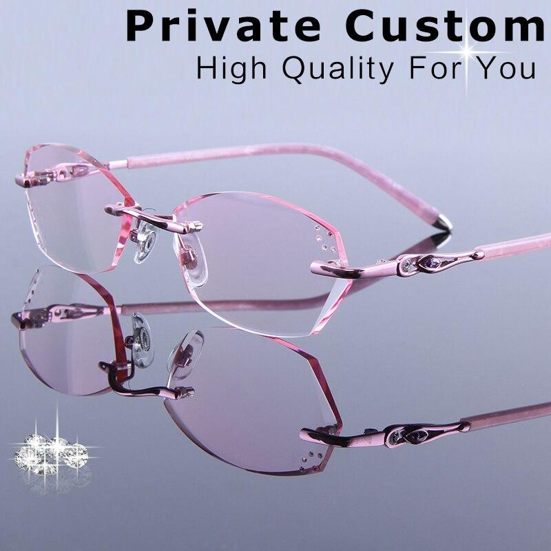 Women's Fashion Prescription Reading Glasses Elegant Myopia Single focus Eyeglasses Rimless Progressive Optical  Female