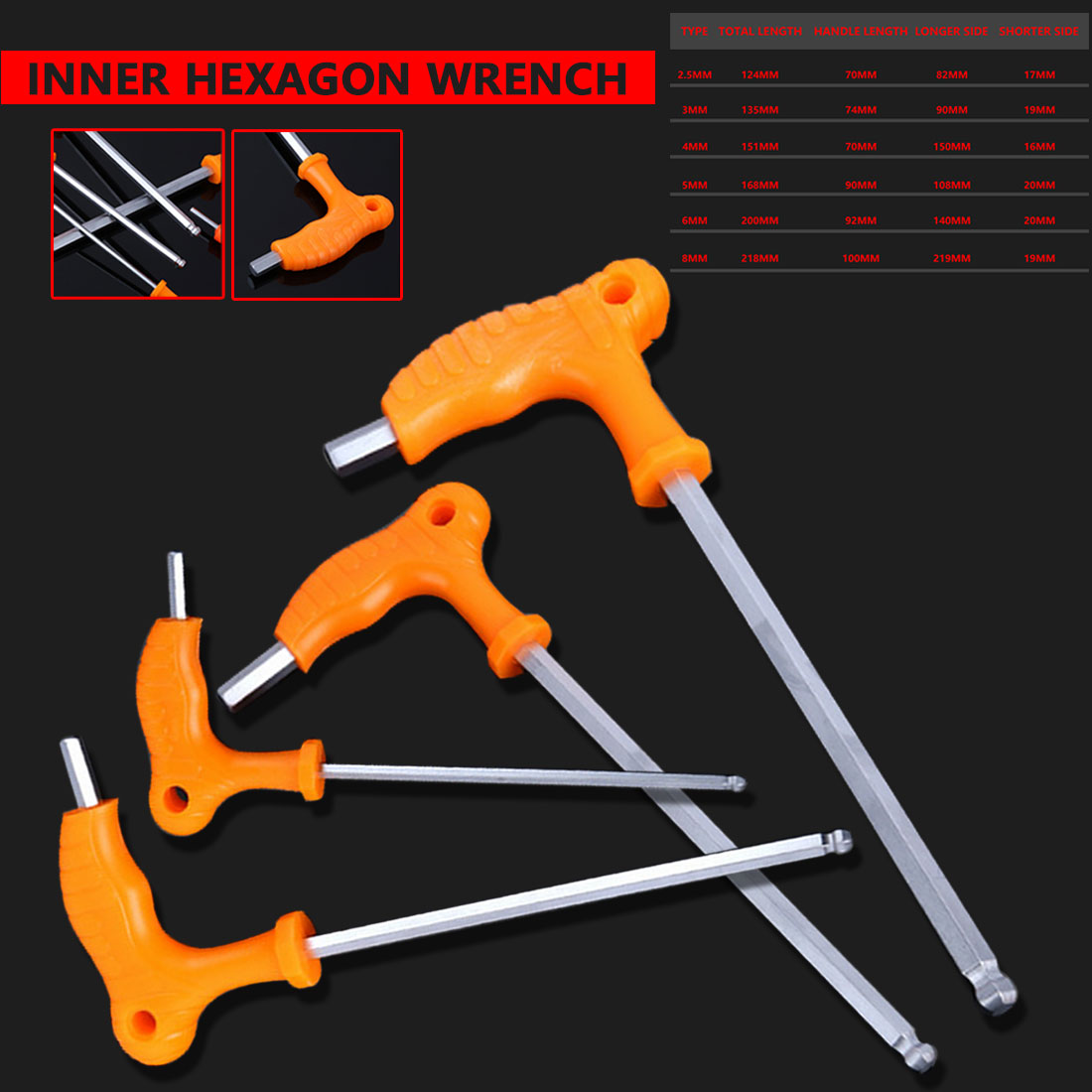 Hand Tools High-carbon Steel 2.5mm 3mm 4mm 5mm 6mm 8mm Inner Hexagon Pipe Wrench T Handle Allen Hex Key Wrench Spanner