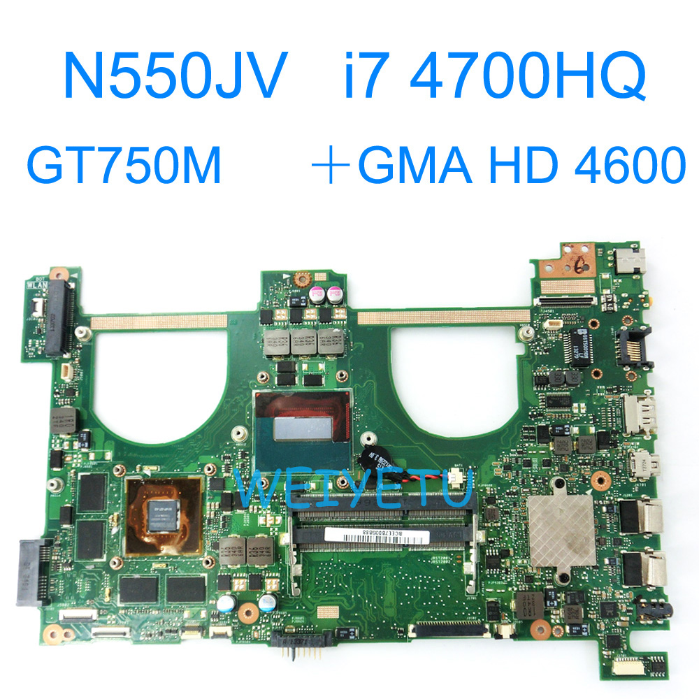 N550JV With i7-4700HQ GT750M Motherboard For Asus N550 N550JK G550JK Q550J Q550J G550J N550J N550JX Laptop Mainboard REV 2.0