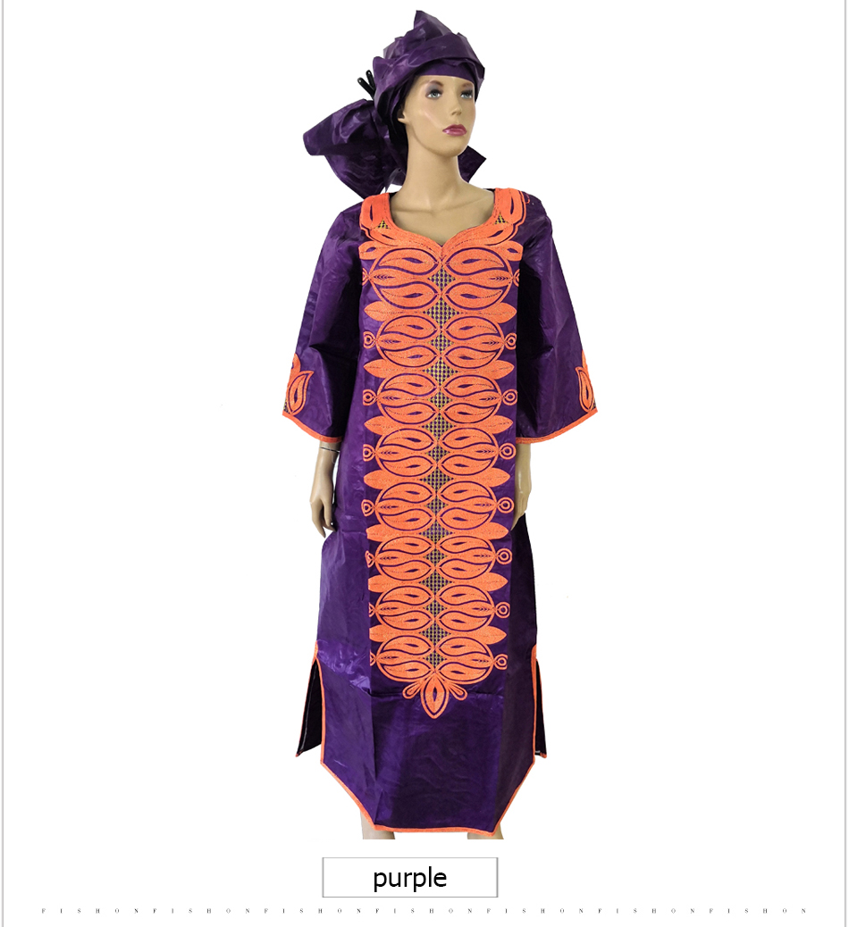 MD dashiki african dresses for women bazin plus size african print dresses  traditional embroidery cotton africa dress head wraps 7029f8b4231b