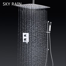 цены SKY RAIN Ultra Thin Bathroom Wall Mounted Ceiling Water Saving Air Booster Rainfall Shower Set
