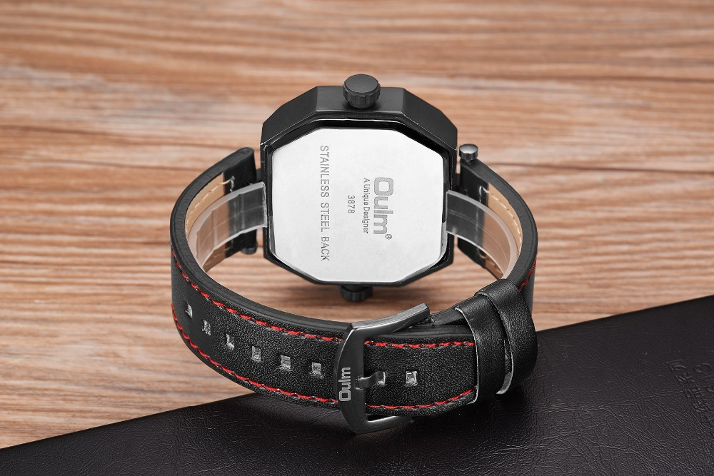 OULM Fashion Oversize Quartz Watch Men 2 Time Zone Display Unique Rectangle Dial Deisgn Leather Strap Creative Casual Wristwatch 18