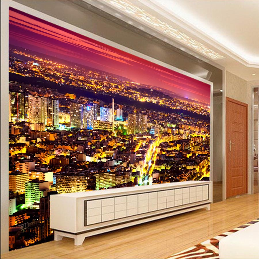 Large Shining Urban Night City Building View 3d Room Modern Wallpaper for Walls 3d Livingroom Wall Paper Mural Rolls Household shinehome city building wallpaper black and white 3d murals for walls 3 d wallpapers for livingroom kids 3 d mural roll room