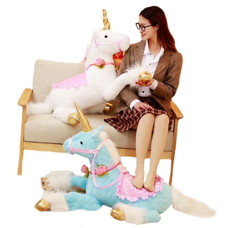 AAA 100 cm Énorme Mignon Licorne Cheval En Peluche Jouets Coloré Animal En Peluche Poupée pour Enfants Enfants Creative Cadeau D'anniversaire pour filles