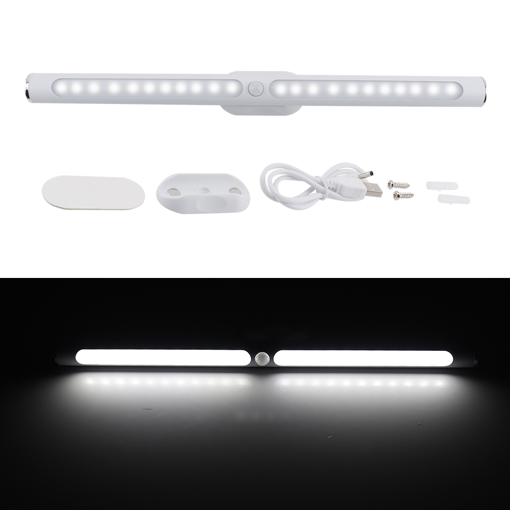 BORUiT 30cm 22 LED Cabinet Light Motion Sensor Kitchen Bedroom LED Closet Lighting Rechargeable Wireless Magnetic Wardrobe Light