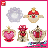 PrettyAngel Genuine Bandai Sailor Moon Transformation Henshin Compact Mirror 02 Gashapon Capsule Toy Set of 5 PCS