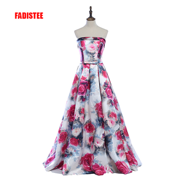 FADISTEE New arrival Gorgeous style dress evening prom party floral print pattern Vestido de Festa sexy strapless style dress