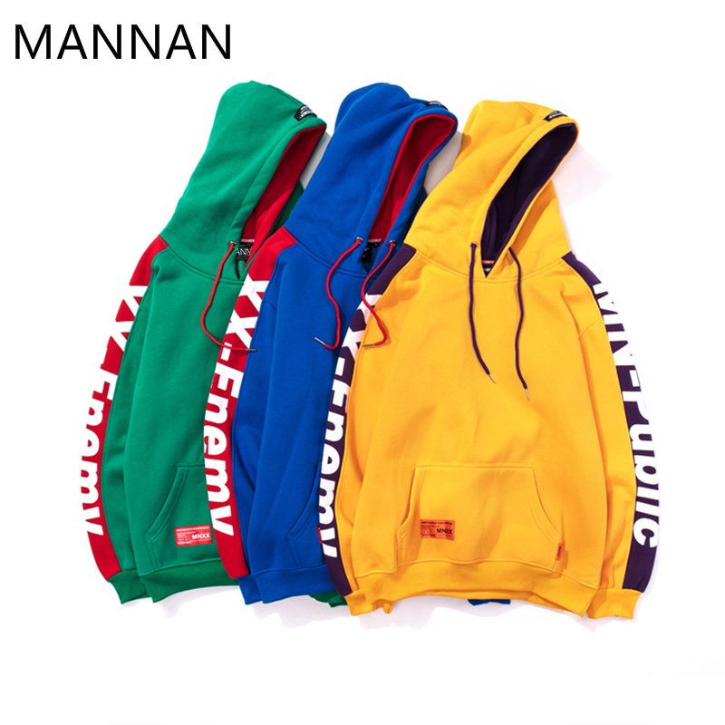 Hoodies Patchwork vert Taille Sweat Streetwear Bleu Hop De Hip Plus Hommes jaune Casual Blanc Coton Xxxl Strié Mannan Cassé qxTIAt