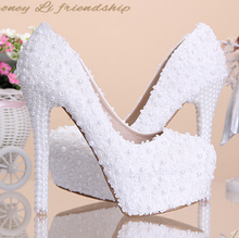 white wedding pumps Sweet white flower lace platform high-heeled pump shoes pearl wedding shoes bride dress lace high heels